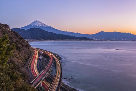 Mt.Fuji and Suruga Bay at Shizuoka in morning winter seen from Satta toge view point Stock Photo