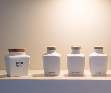 Ceramic bottle in bathroom
