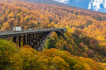 Jogakura Bridge at Aomori prefecture in autumn