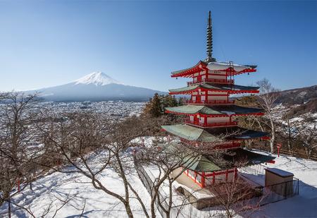 Chureito pagoda and Mt. Fuji in winter