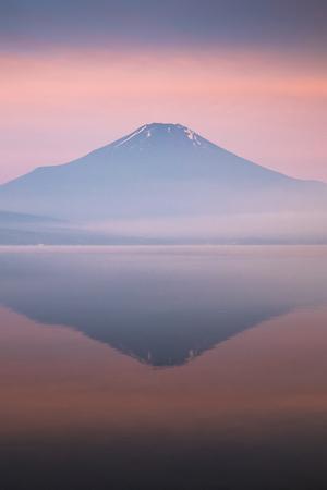 Mountain Fuji with reflection at Lake Yamanakako in morning