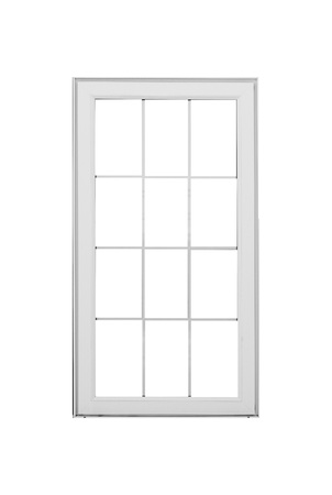White wood window frame isolated on white background 写真素材