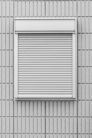 White metal shutter window and white brick wall background