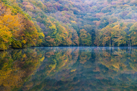 Togakushis Lake  , Kagami-ike pond in autumn morning Stock Photo