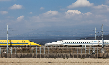 Doctor Yellow, Japan The high-speed test trains with view of Mountain Fuji