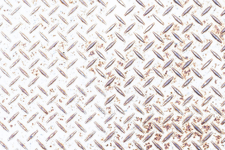 Rusty white metal diamond plate background