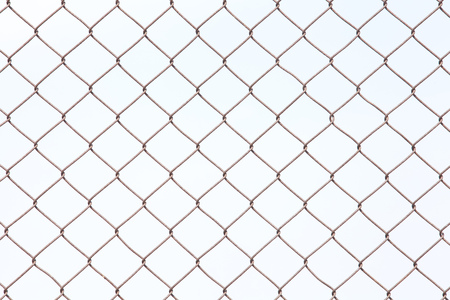 mesh metal fence isolated on white background