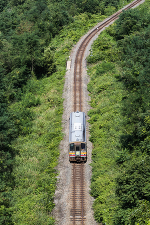 The Oito line , Oito line is a Japan railway which connects Matsumoto Station in Nagano Prefecture 스톡 콘텐츠