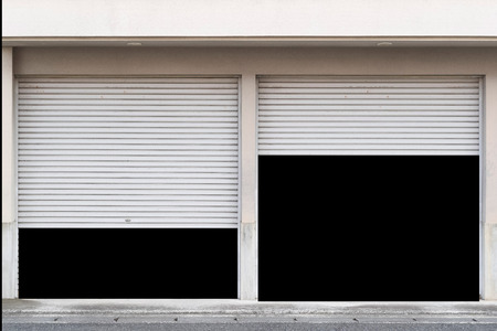 Opened white shutter door isolated on white background Banque d'images - 103213834