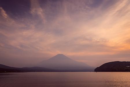 Mountain Fuji with reflection at Lake Yamanakako in sunset Stock Photo