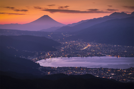 Aerial Mount Fuji with Suwako Lake in sunrise seen from Mt.Takabochi