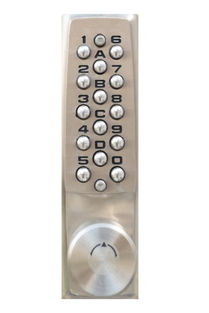 Door pin keypad with numbers isolated on white background Stock Photo