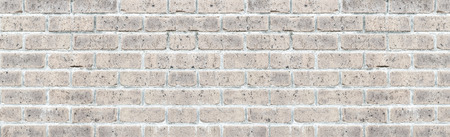 Panorama of Old vintage white brick wall texture and background seamless