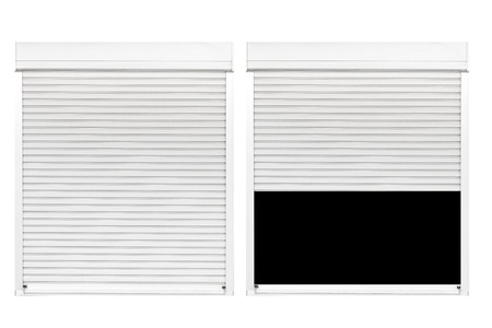 White metal shutter window isolated on white background 写真素材