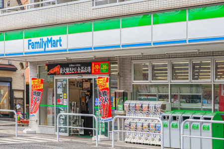 Minami Gyotoku, Chiba - MAY 04, 2019 : FamilyMart (one word) convenience store is the third largest in 24 hour convenient shop market, after Seven Eleven and Lawson