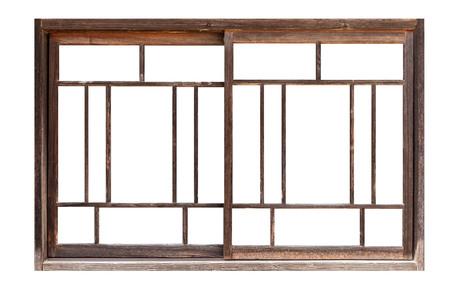 Châssis de fenêtre en bois antique isolé sur fond blanc Banque d'images