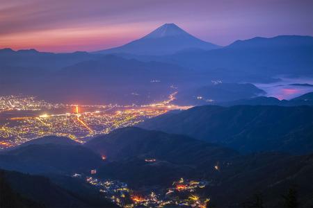 The lights of Kofu City  and Mt.Fuji at night