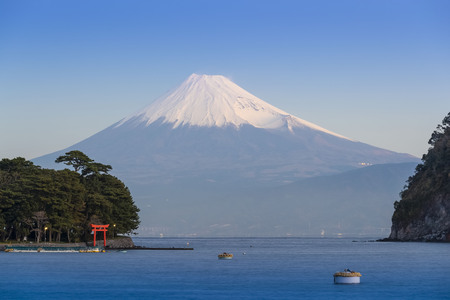 Mt.Fuji in the winter with the Suruga Sea in Shizuoka Prefecture