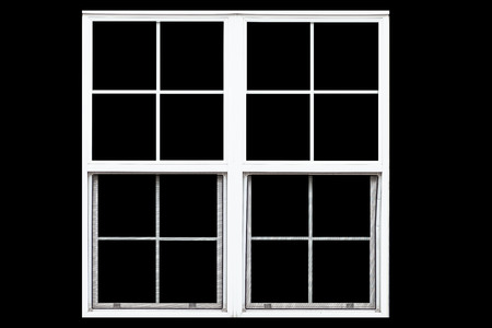White metal window frame isolated on black background