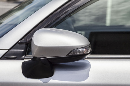 Close-up Car Rearview mirror Imagens