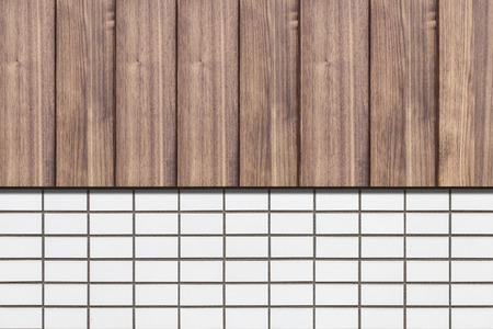 Wood fence and white brick wall texture and background