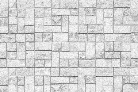 Modern white stone wall pattern and seamless background Banco de Imagens