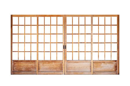 Shoji, puerta japonesa tradicional, ventana o separador de ambientes que consta de aislado sobre fondo blanco.