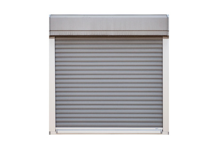 White roller shutter garage window isolated on white background Banque d'images - 123469876