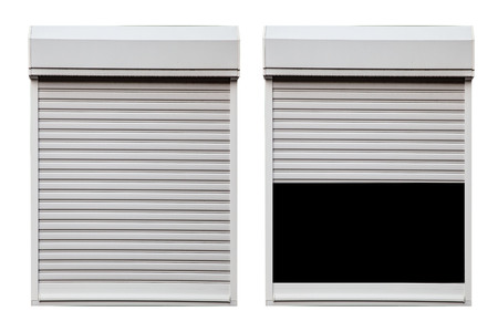 White metal shutter window isolated on white background Banque d'images - 124344253