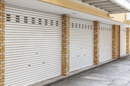 Closed shutter doors of the garage