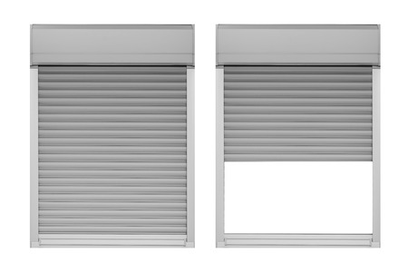 Close and open window shutter isolated on white background Banque d'images - 124349712