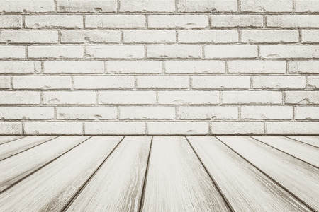Vintage white brick wall and wood floor background and texture