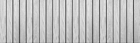 Panorama of Empty white plank panel wood wall surface texture for background or decoration design 写真素材