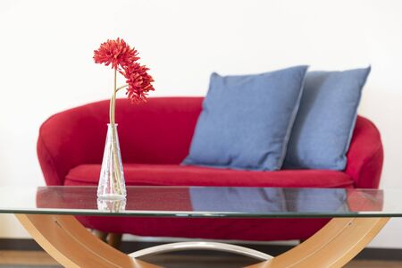 Flowers in a vase on the table and sofa in the living room