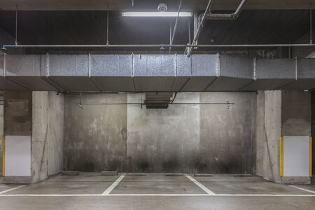 Parking in the basement is empty. Stock Photo