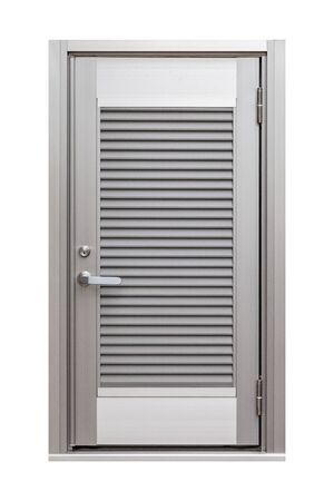 Stainless steel door isolated on white background