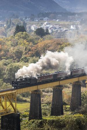 Steam locomotive train Is spraying smoke running through the iron bridge 報道画像