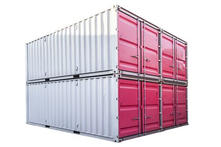 Stack of pink freight shipping container isolated on white background Stock fotó