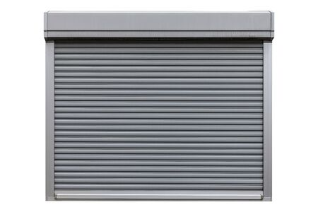 White metal roller door shutter isolated on white background