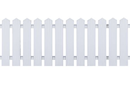 White wooden fence isolated on a white background
