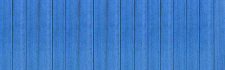 Panorama of Vintage style wooden fence painted blue sea texture and seamless background 写真素材