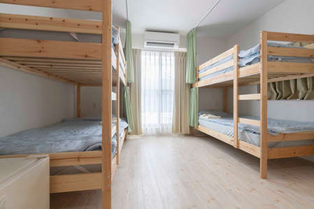 Bunk bed and mattress in guest house room