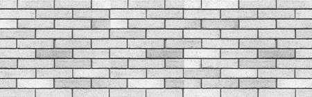 Panorama of White stone brick wall texture and seamless background