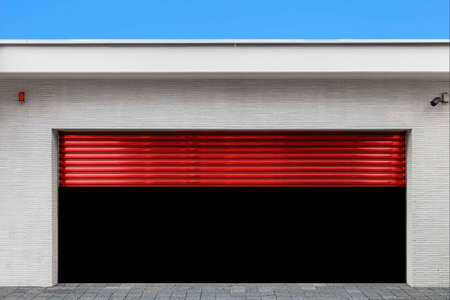 Garage at the building that opens the shutter door