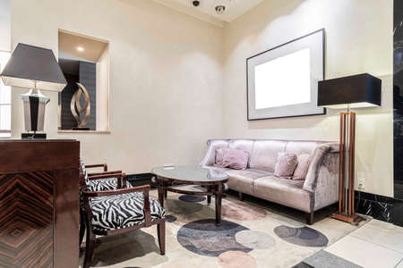 Luxurious chairs and sofas at the reception area in the living room at home