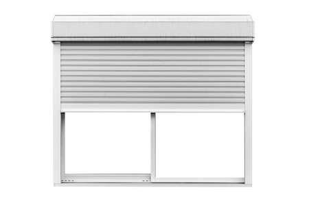 Metal roller window shutter isolated on white background Banco de Imagens