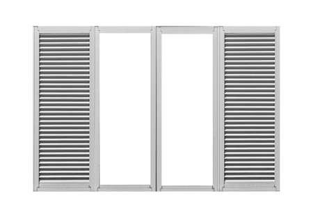 White louvered aluminum window frame isolated on a white background