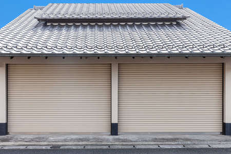 Automatic shutter doors closed at the Japanese style garage