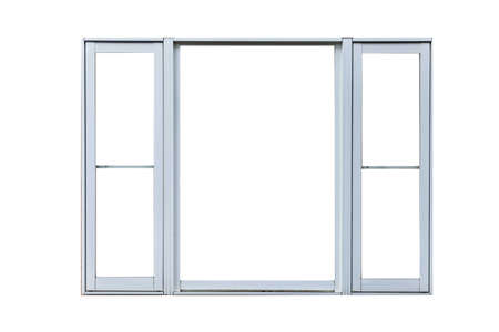 Vintage white metal window frame isolaed on a white background