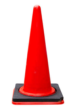 Red traffic cone isolated on a white background